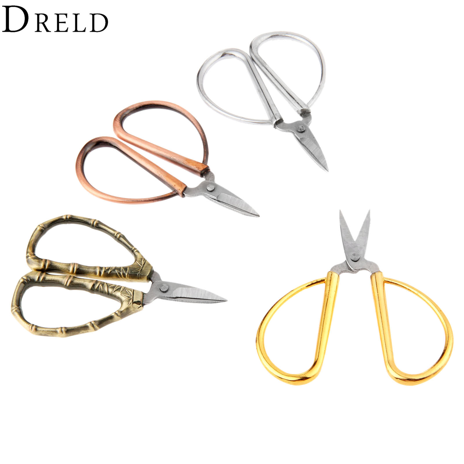 DRELD Vintage Mini Cross Stitch Sewing Scissors Stainless Steel Abrasion Resistance Tailor's Scissors Handicraft DIY Hand Tools