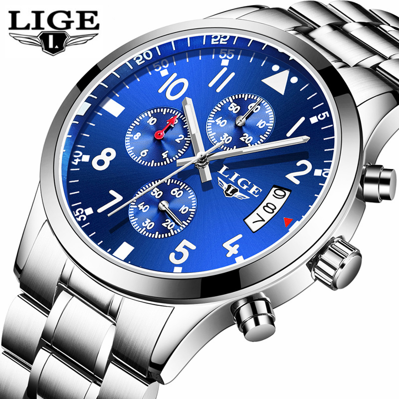 LIGE Waterproof Sport Watch Men Quartz Full Steel Clock Mens Watches Top Brand Luxury Business Wrist Watch Relogio Masculino chenxi full gold watch mens watches top brand luxury waterproof quartz watch clock steel wrist watches for men relogio masculino