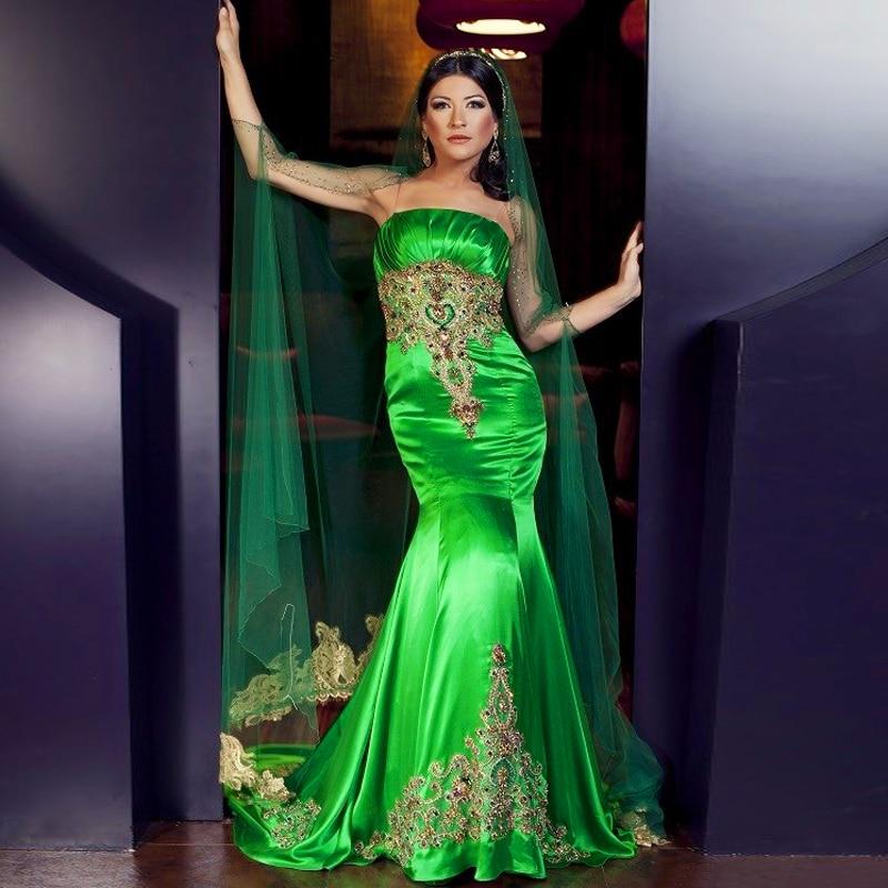 Custom Designs Emerald Green Evening Dresses With font b Hijab b font Long Dress Embroidery Sari