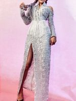 Long Sleeve Silver Sequins Dress Women's Party Dresses Costumes Sexy Bright Female Singer DJ Dance Stage Wear Prom Dresses