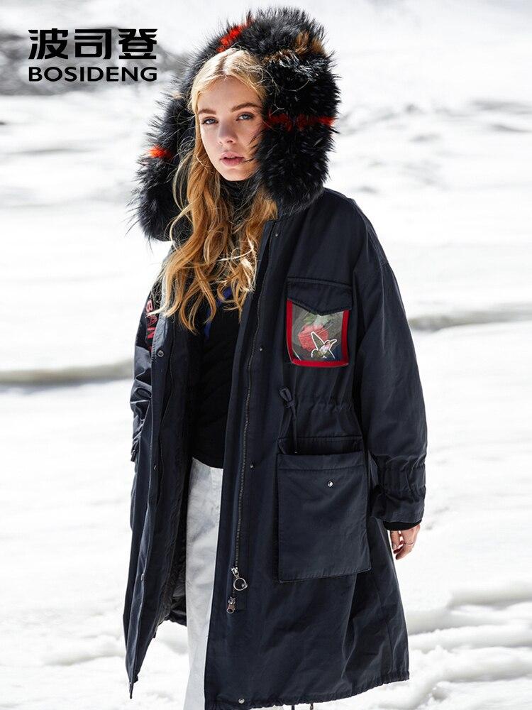 BOSIDENG Rose Collection Harsh Winter Duck Down Parka Women Thicken Down Coat Hooded Outwear Waterproof Real Fur B80141126