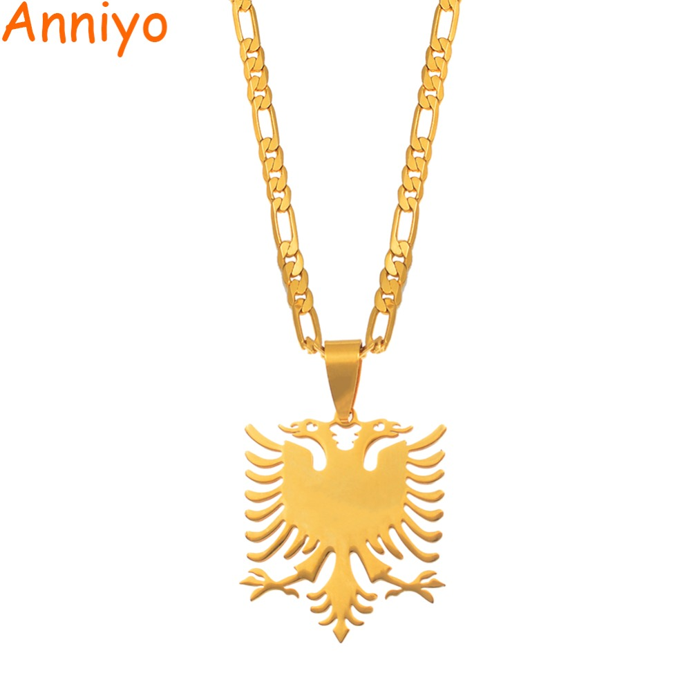 Anniyo Albania Eagle Pendant Necklaces Gold Color & Stainless Steel Jewelry Ethnic Gifts For Women Men #068921