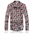 toturn Men Shirts M-5XL Plus Size Long Sleeve Men's Fashion Design Of The New Spring Men Dress Shirt  Flower Shirt Men