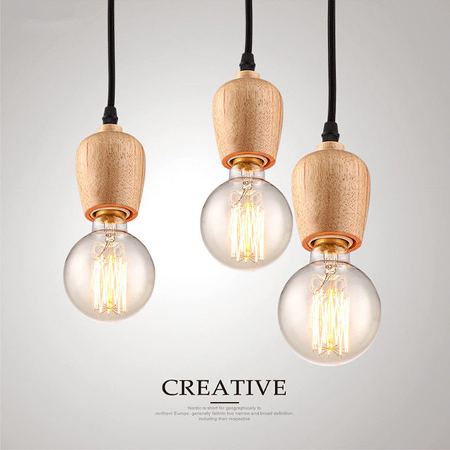 Modern Pendant Lights Vintage Cord Pendant Lamp Kitchen Light Fixture Black  Wire Oak Wood Luminaire Hanging