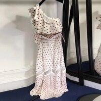 summer long dress women 2018 sexy one shoulder dress evening woman polka dot dress