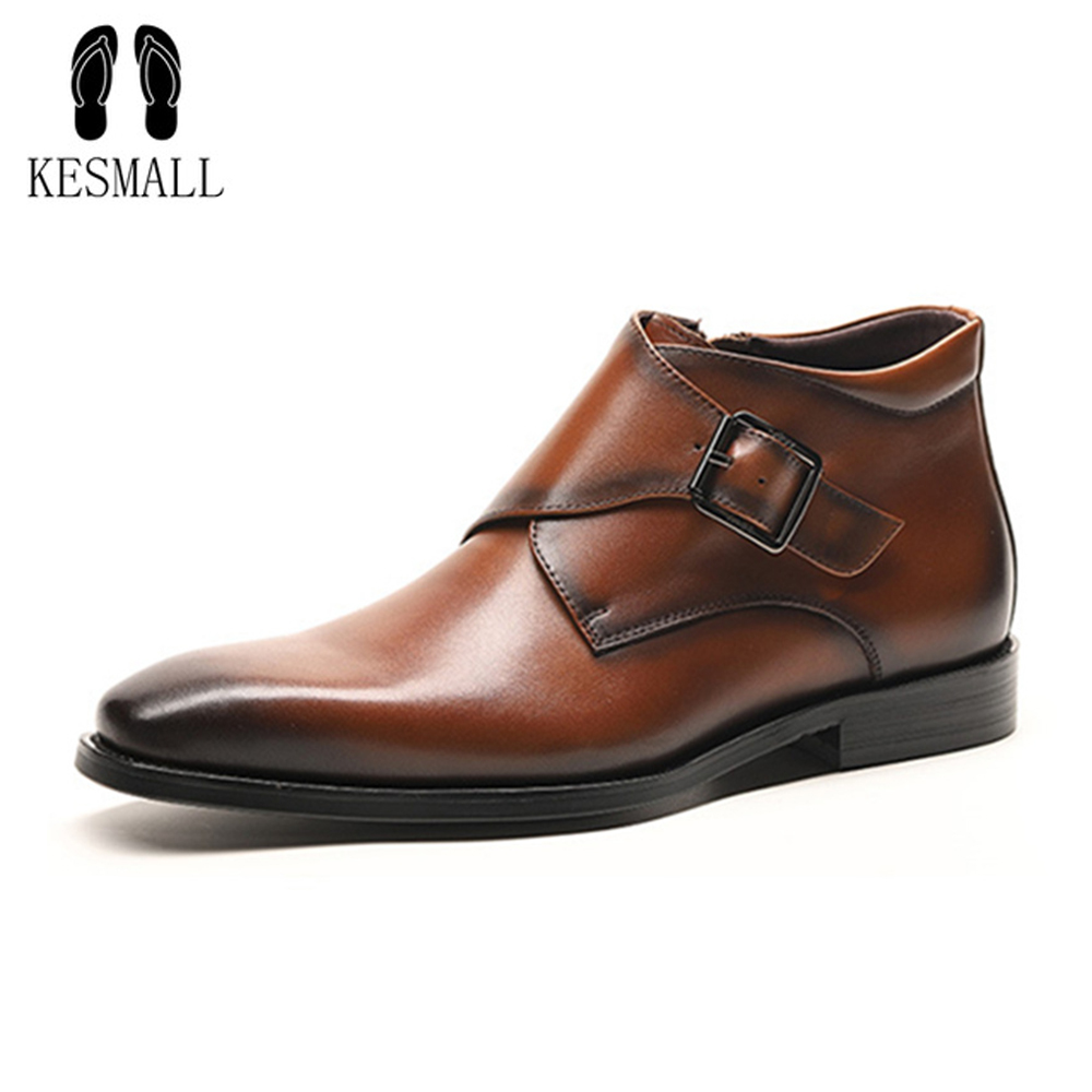 KESMALL Vintage Chelsea Boots Men Shoes Luxury Brand Leather Casual Driving Oxfords Mens Gold Hasp Casual Shoes Plus Size 48 luxury brand vintage casual 100 page 5