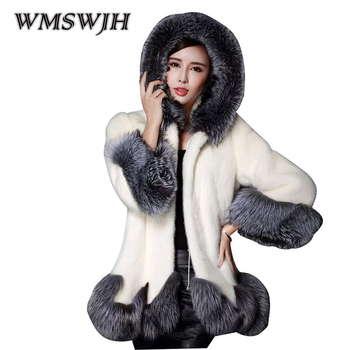 Wmswjh Europe America Man-made Fur Coat Winter New Women's Mink Fur Coat Mid Long Section Hooded Slim Warm Fox Fur Coat WS87