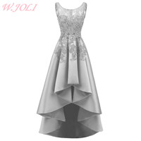 W JOLI Sexy Asymmetrical Evening Dress Satin Lace Appliques Prom Gown Luxury Crystal Bride Banquet Wedding