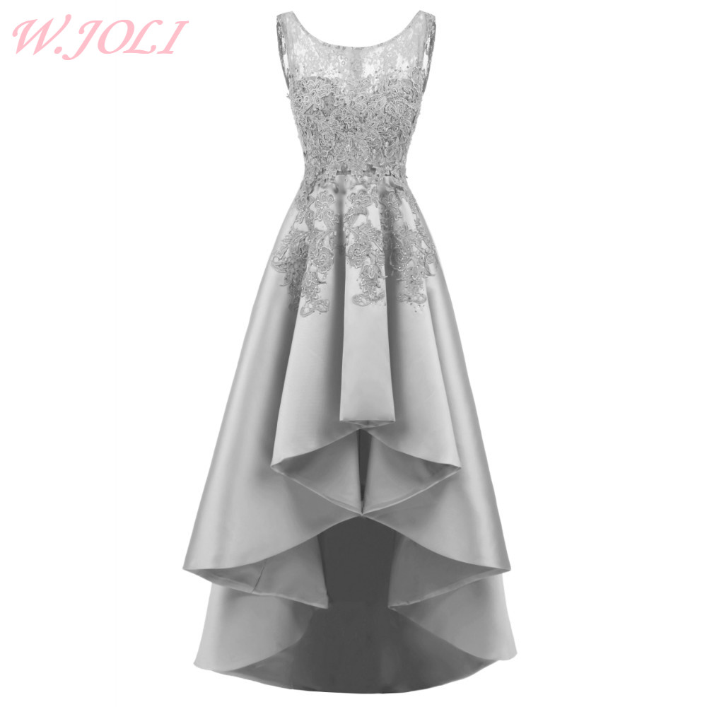 W.JOLI Sexy Asymmetrical   Evening     Dress   Satin Lace Appliques Prom Gown Luxury Crystal Bride Banquet Wedding Party   Dresses