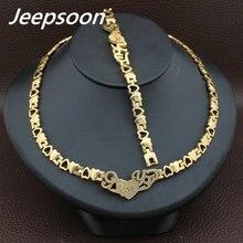 Горячая новейшая мода нержавеющая сталь Металл Серебро и золото Цвет Сердце ожерелье и браслет ювелирный набор SFKABADI
