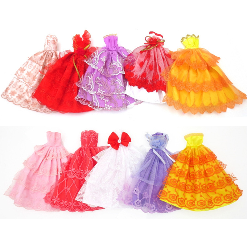 5pcs/set Clothes For Dolls Accessories 30cm Doll Clothes Party Skirt Wedding Dress Accessories For Dolls Toys For Girls