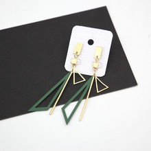 Long tassel exaggerated earrings hollow diagonal triangle Japanese and Korean fashion simple big