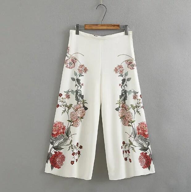 Women's Spring summer European Fashion flower print white Long   Pants   Female zipper   wide     leg     pants   Trousers TB759