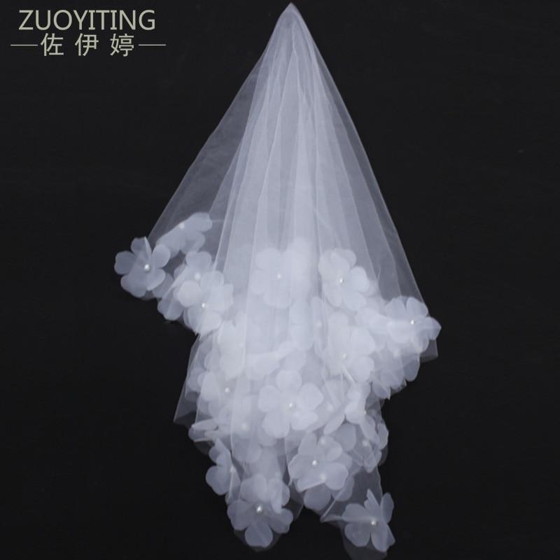 ZUOYITING bruiloft bruids twee lagen sluier met kam ivoor / witte - Bruiloft accessoires - Foto 1
