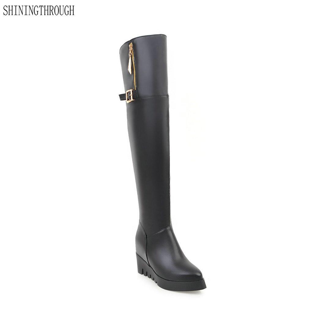 купить SHININGTHROUGH Women Boots Platform Buckle Short Plush Round Toe Over The Knee Boots wedges High Heel Ladies Boots Size 34-43 по цене 2284.72 рублей