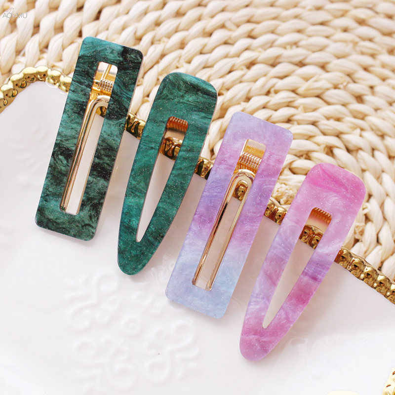 AOMU 1PCS Vintage Acrylic Hollow Geometric Waterdrop Rectangle Hair Clips Tin Foil Sequins Hairpins Hair Accessories For Women