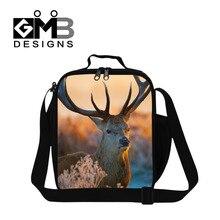 Приятно Elk 3D Печатных Изолированные обед сумка для детей школа, Змея Обед Контейнер для взрослых, плечо пищевой сумка для студента