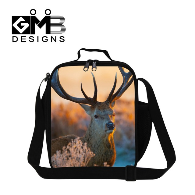 Nice Elk 3D Printed Insulated lunch bag for children school,Snake Lunch Container for adult office,shoulder food bag for student