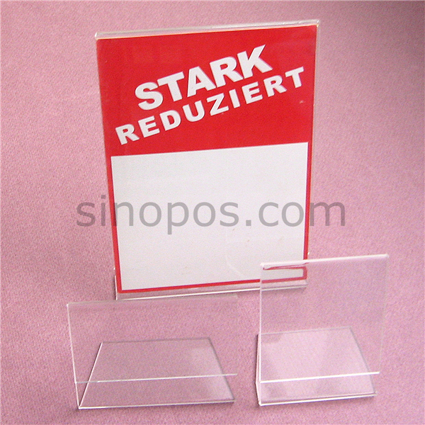 Acrylic Sign Holder 16x12cm L Shaped Glass Display Rack Clear