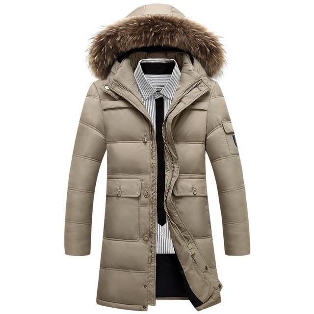 Caliente del invierno Con Capucha de Los Hombres Abajo Chaquetas Casual X-larga de Pato abrigos y Chaquetas Espesar Outwear Casual Solid Parkas Tamaño 4XL CQ2213