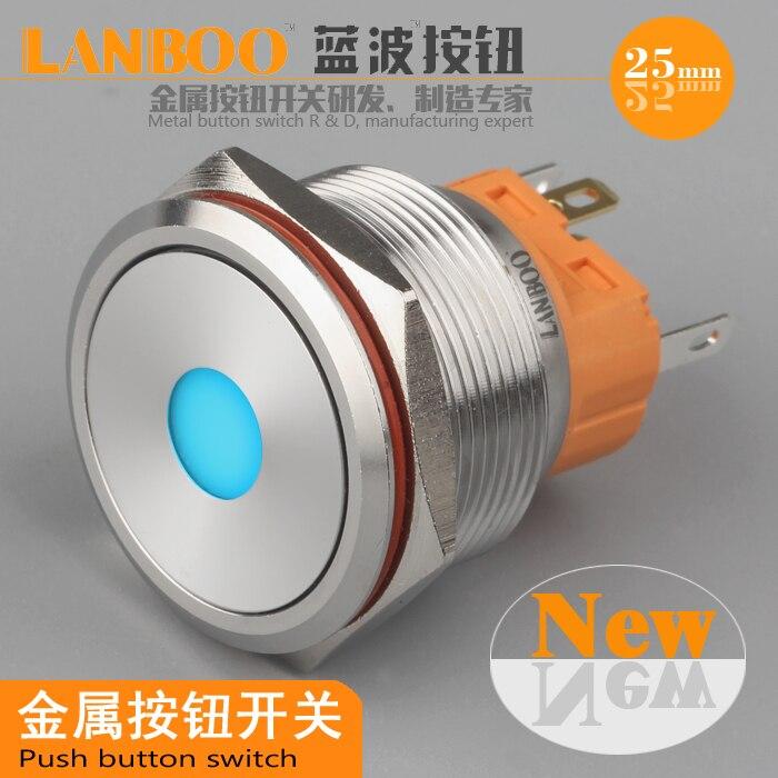 25mm metal button switch / self reset button / single point light / waterproof IP67/ belt plug/ Self reset