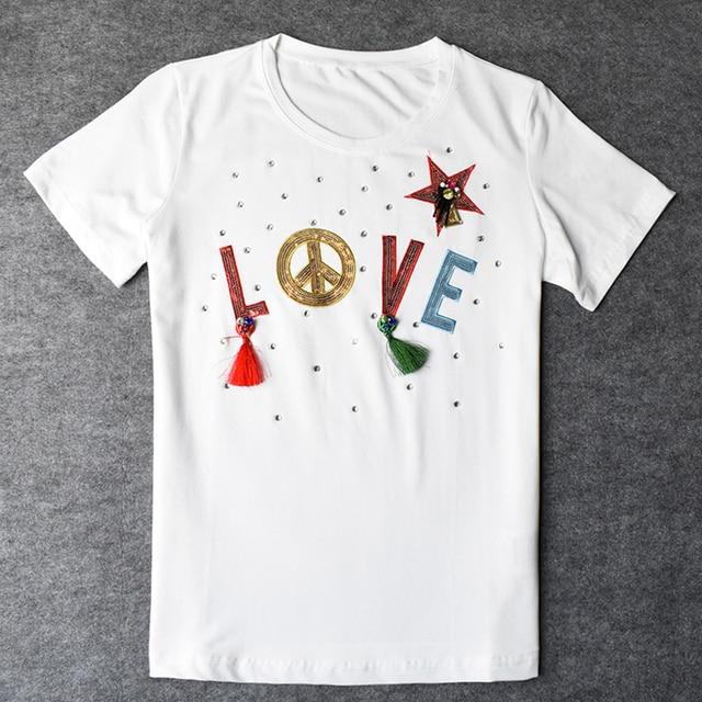 New Fashion Women's Tshirts Cotton Womens Round Neck Shorts Sleeve t-shirt 3D Tassel Leisure Beautiful Inexpensive Women t-shirt