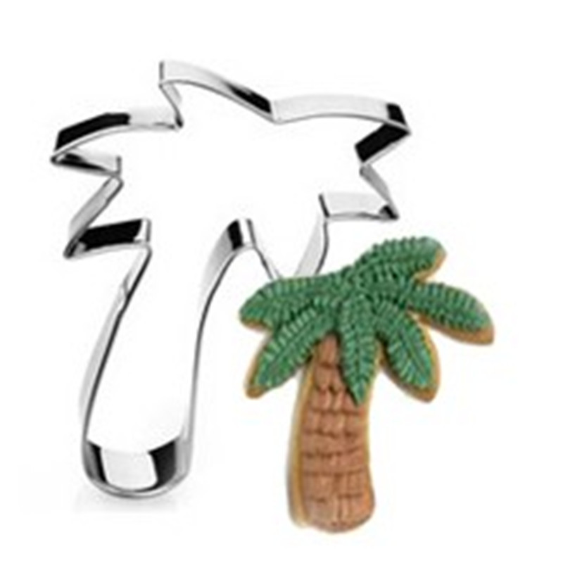 Coconut trees stainless steel cute cutting biscuit mould cake moulds fruit sugar mold baking tools