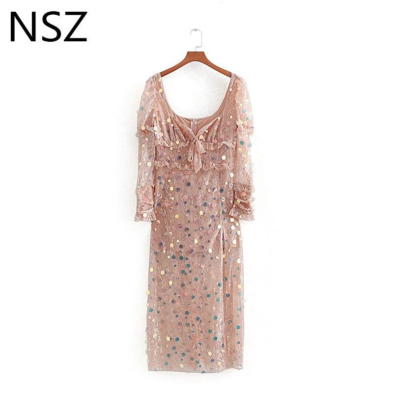 NSZ femmes dentelle pailletée longue robe Sexy coupe basse col en V Club partie transparente cheville longueur robe haute fente gaine robe Vestidos