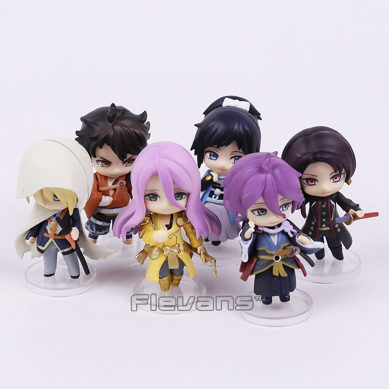 Anime Touken Ranbu Online 1st Squad Kashuu Kiyomitsu Mini PVC Figures Collectible Model Toys 6pcs/set Boxed touken ranbu online game tachi shishiou anime cosplay wig gold yellow hair