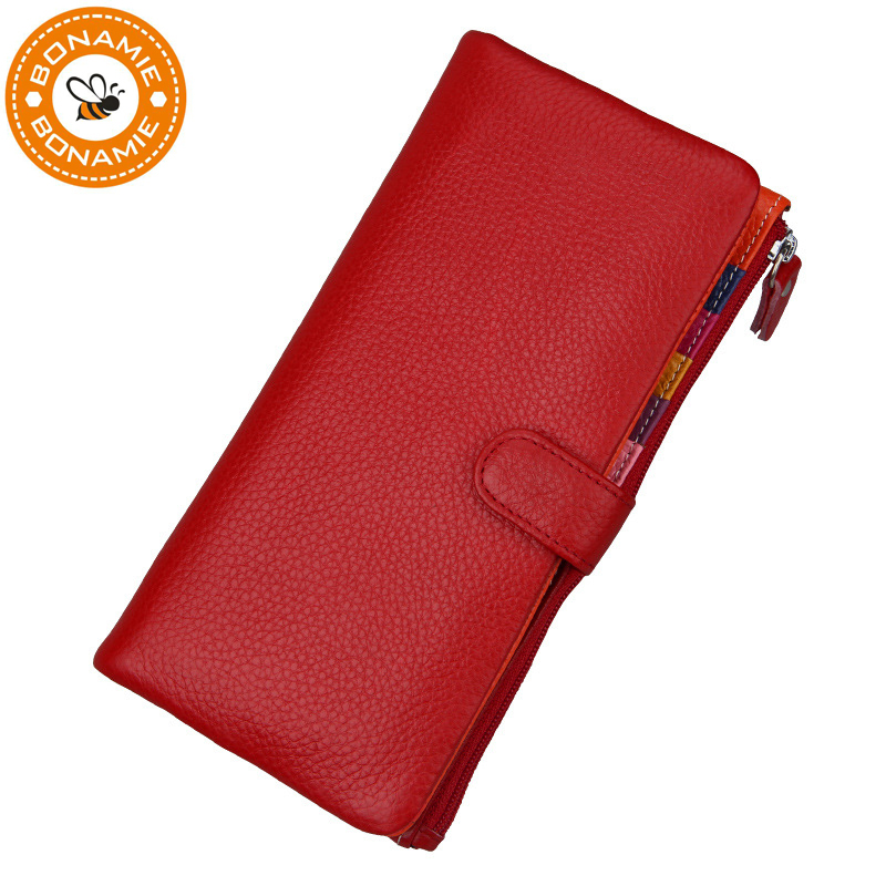 BONAMIE Brand Luxury Genuine Leather Women Long Wallet Purse RFID Card Holder Female Casual Big Capacity Clutch Wallet Phone Bag ...