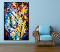 Palette Knife Painting Jazz Music Trumpet Saxophone Guita Soul Play Picture Printed On Canvas For Home