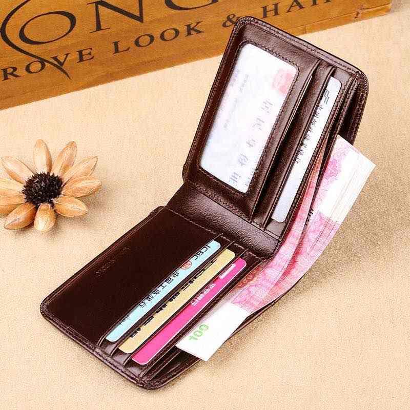 Мужской кошелек, Короткий держатель для кредитных карт, двойной складной, из натуральной кожи, мульти-чехол для карт, сумка-Органайзер, черный, коричневый, pl285