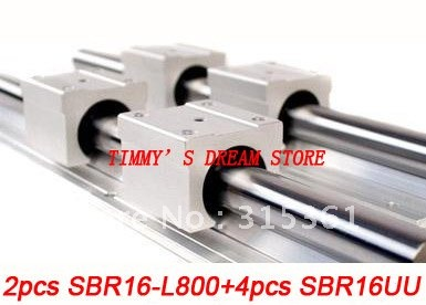 Free Shipping 2pcs SBR16-800mm Linear Bearing Rails + 4pcs SBR16UU Bearing Locks CNC X Y Z free shipping 2pcs sbr16 700mm linear bearing rails 4pcs sbr16uu bearing locks cnc x y z