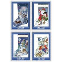 Вечная любовь Рождественский чулок экологический хлопок китайский вышивка крестом наборы Счетный штамп 14 11CT год распродажа Акция