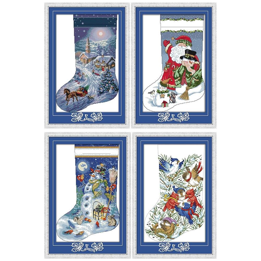 Amore eterno Di Natale calza di cotone Ecologico Cinese punto croce kit contati timbrato 14 11CT nuovo anno di promozione delle vendite