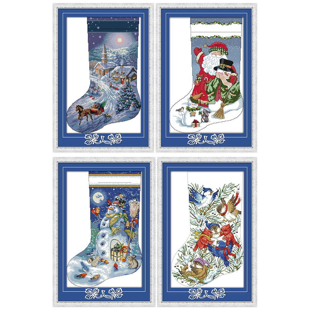 Everlasting love Christmas stocking Ecological cotton Chinese cross stitch kits counted stamped 14 11CT new year sales promotion