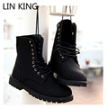LIN KING New Men Fasion Boots Vintage High Top Lace Up Winter Shoes Retro Male Motorcycle Boots Solid Thick Sole Martin Shoes
