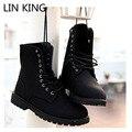 LIN REY Nuevos Hombres Botas Fasion Vintage High Top Lace Up Zapatos Retro Hombres Botas de Moto de invierno Sólida Gruesa Suela Zapatos Martin
