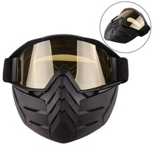 Motorcycle Goggles Mask Helmet UV Protective Windproof with Detachable Outdoor Ski goggles