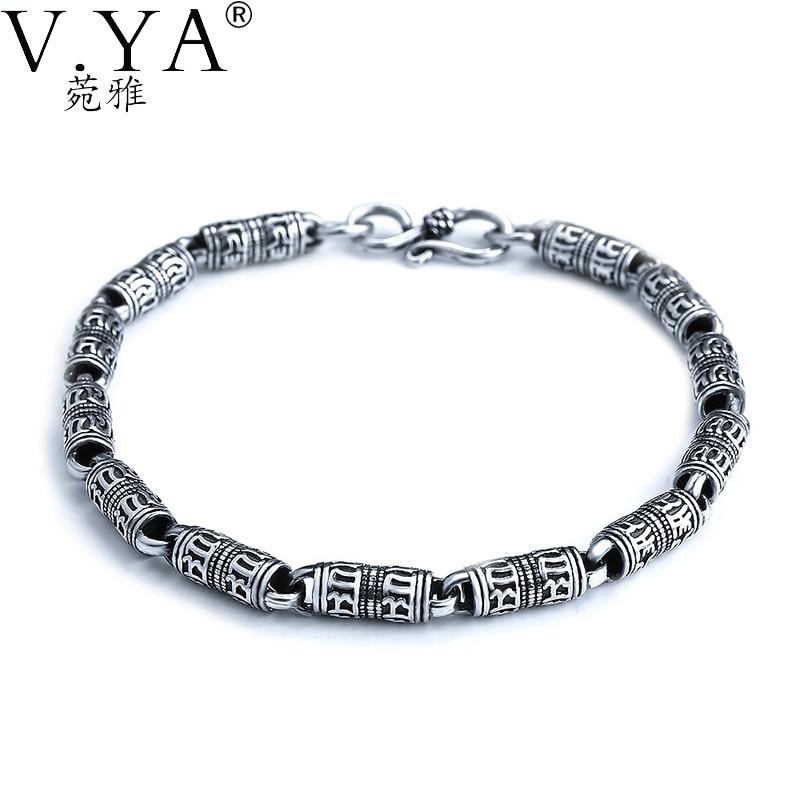 V.YA Genuine Solid 925 Sterling Silver Bracelets For Men Vintage Style Male Bangles Bracelet Fine Jewelry v ya vintage thai silver men bracelets bangles 925 sterling silver mens bracelet bangle cuff fine jewelry