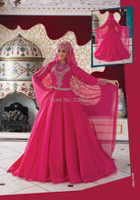 Custom Made Fuchsia Chiffon Beaded Hijab Muslim Evening Dress Turkish Formal Gowns Islamic Formal Gowns robe de soiree