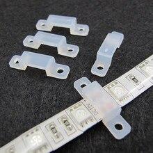 10 pièces Silicone Fixateur Clips Support Supports pour 5050 LED Bande 10mm 8mm 2835 3528 en gros En Plastique Lumière RVB Couleur Unique