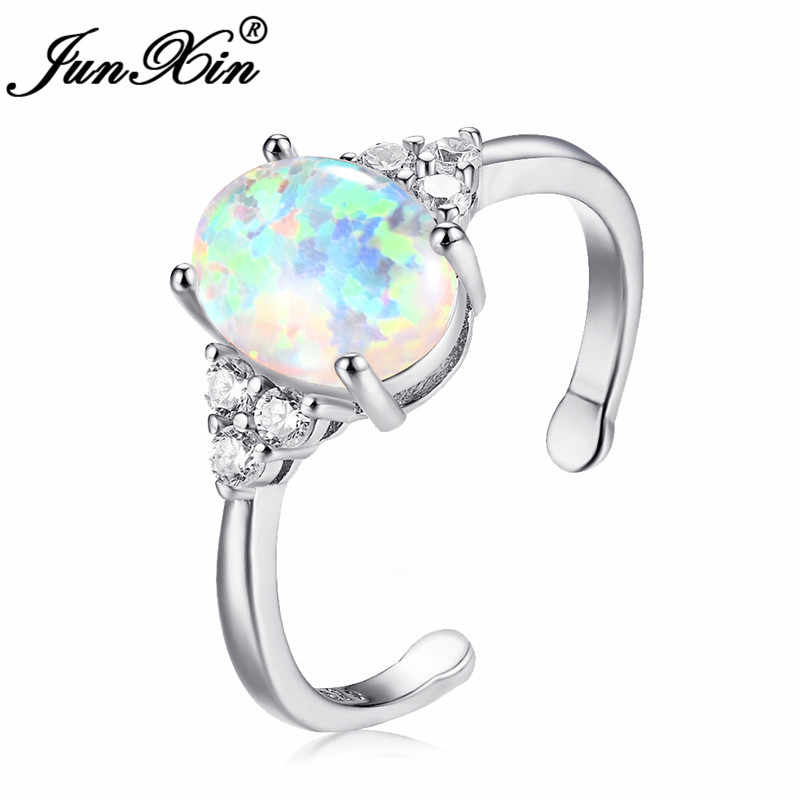 JUNXIN 925 Sterling Silver Filled Oval Purple/Blue Fire Opal Stone Resizable Rings For Women Inlay Crystal Opening Ring Jewelry