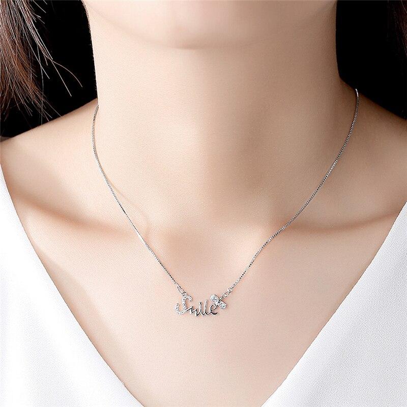 Ailodo Simple Fashion Letter Smile CZ Pendant Necklace For Women Silver Chain Femme Bijoux Statement Jewelry LD201