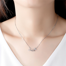 Ailodo Simple Fashion Letter Smile CZ Pendant Necklace For Women Silver Chain Femme Bijoux Statement Jewelry LD201