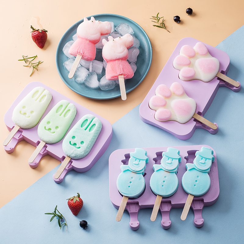 Cartoon Ice Snowman Maker Popsicle Molds Silicone Lolly Tray With Sticks Children Pop Mould Creative Kitchen Diy Tools