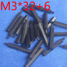 M3*32+6 1 pcs Black Nylon Standoff Spacer Standard M3 Male-Female 32mm Kit Repair Set High Quality