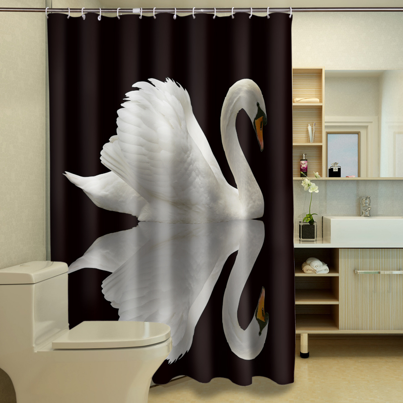Beautiful White Swan Pattern Polyester Fabric Waterproof Shower Curtain Eco-friendly Bathroom Curtain Home Structural Disabilities Bathroom Products Shower Curtains
