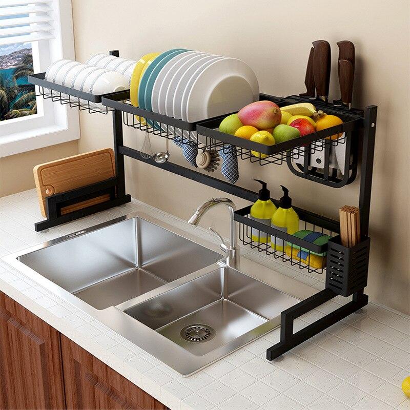 Bol de rangement en acier inoxydable baguettes plat abreuvoir évier égouttoir en métal Type de plancher Double Non pliant Rack vaisselle cuisine