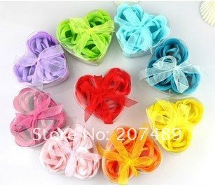 washing cleaning bath rose Flower paper petals soap gift organtic wedding favor mulit color 3pc/box bowknot
